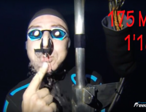Spitting air at -175 mt – No Limits Training Dive